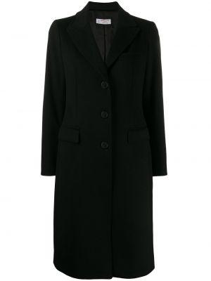 Шерстяное черное пальто классическое с капюшоном Alberto Biani