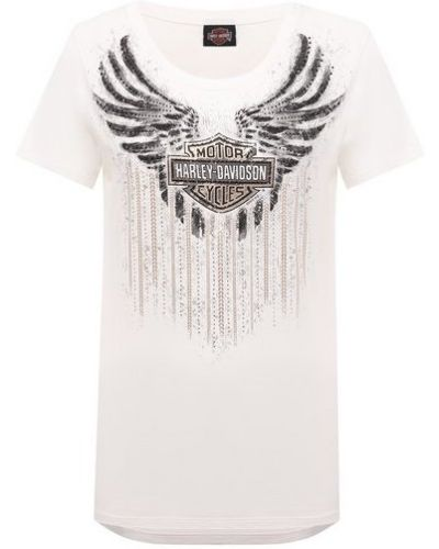 Хлопковая белая футболка Harley Davidson