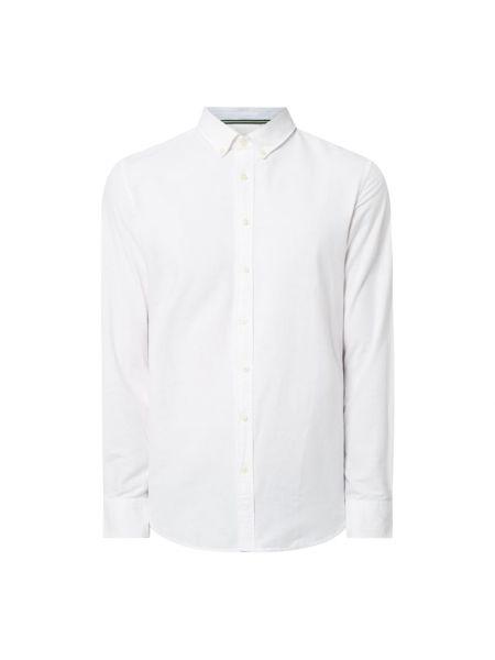 Biały bawełna bawełna z rękawami koszula oxford Montego