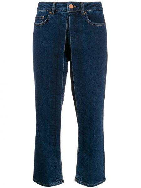 Niebieskie spodnie skorzane z paskiem Aalto
