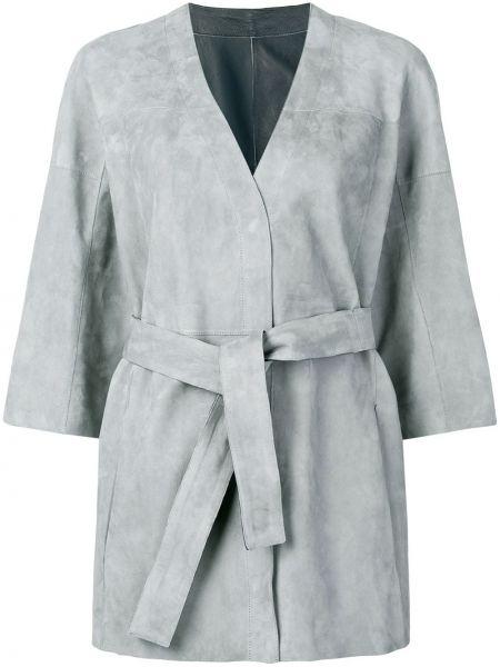 Серый кожаный длинное пальто с подкладкой Drome