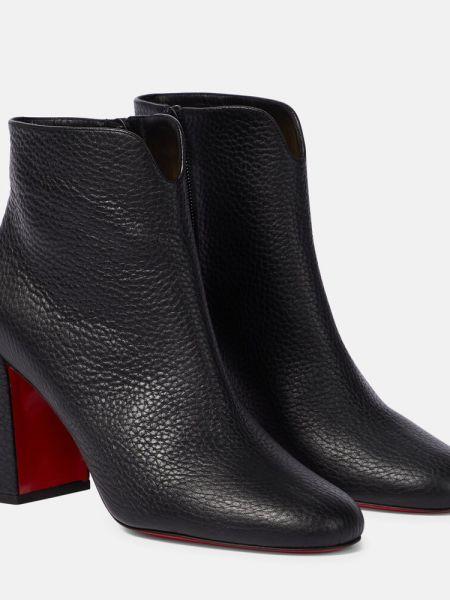 Skórzany czarny buty obcasy na pięcie Christian Louboutin