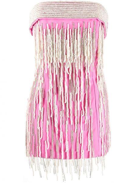Różowa sukienka mini z frędzlami wełniana Attico