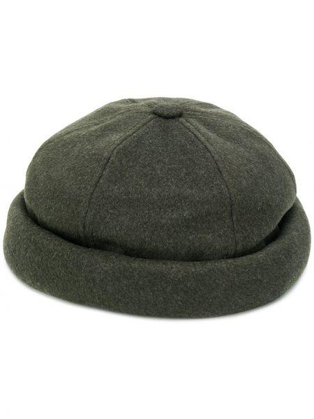 Тонкая зеленая шапка из вискозы с отворотом Junya Watanabe Man