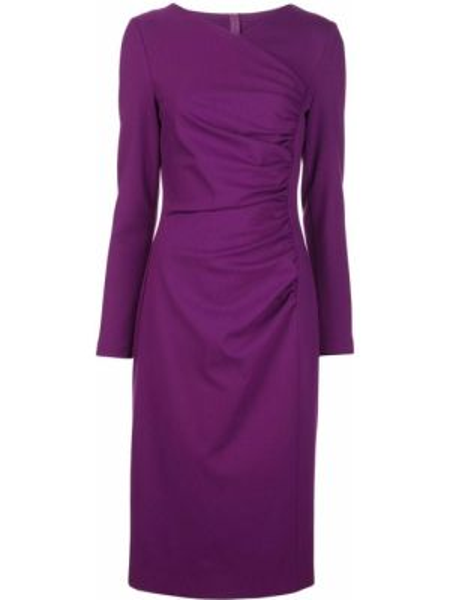 Fioletowa sukienka długa kopertowa z długimi rękawami Escada