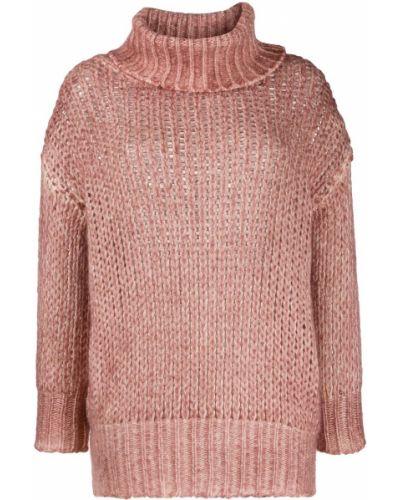 Кашемировый розовый вязаный джемпер в рубчик Avant Toi