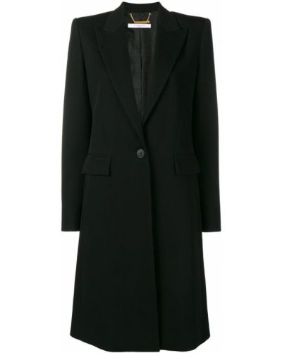 Однобортное шерстяное черное пальто классическое Givenchy
