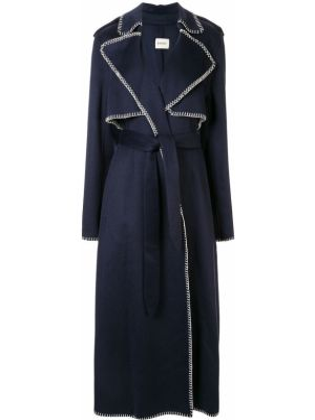 Синий шерстяной длинное пальто с разрезом Khaite