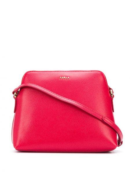Кожаная красная сумка через плечо на молнии Furla