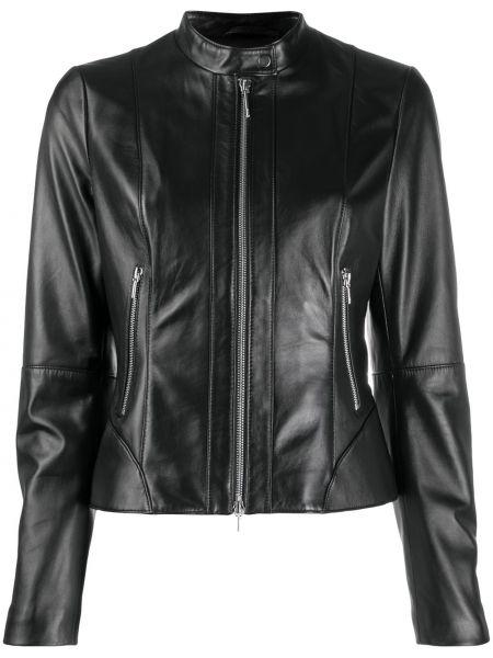 Кожаная куртка на молнии - черная Boss Hugo Boss