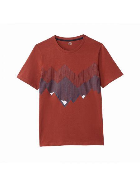Хлопковая футболка с рисунком с круглым вырезом с короткими рукавами круглая La Redoute Collections