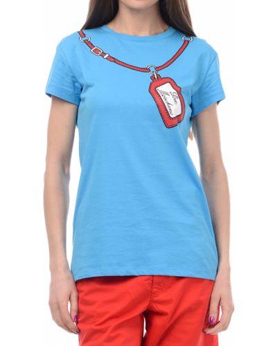Голубая футболка хлопковая Love Moschino