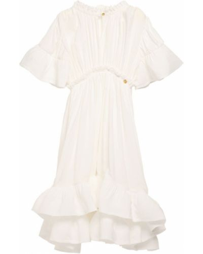 Biała sukienka długa z wiskozy Lanvin