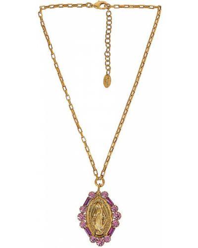 Złoty naszyjnik - różowy Elizabeth Cole