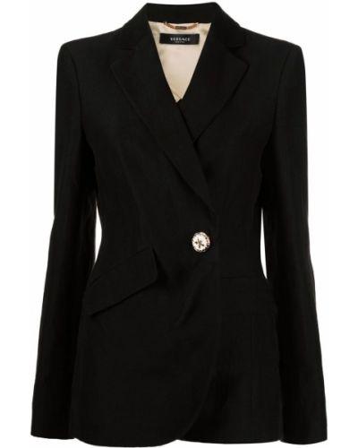 Льняной черный удлиненный пиджак для полных Versace