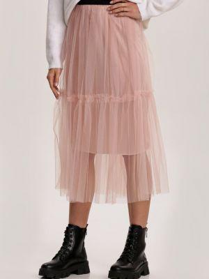 Ciepła różowa spódnica materiałowa Renee