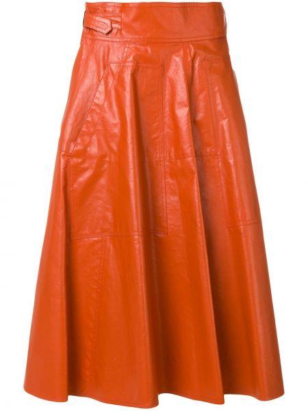 Плиссированная юбка кожаная Bottega Veneta