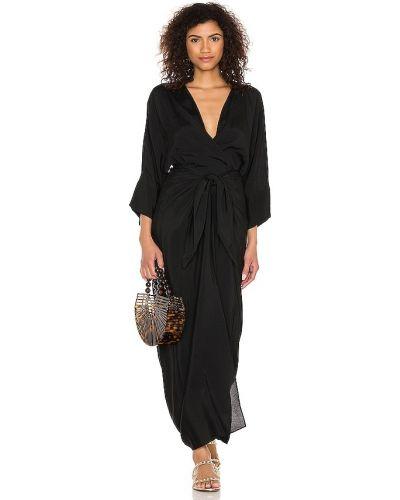 Черное платье с драпировкой из крепа Haight