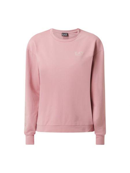 Różowa bluza bawełniana z printem Ea7 Emporio Armani