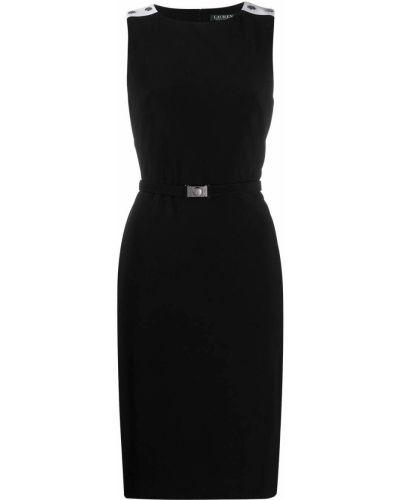 Трикотажное черное платье с поясом Lauren Ralph Lauren