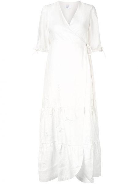 Белое платье миди с запахом с V-образным вырезом на молнии Sir.