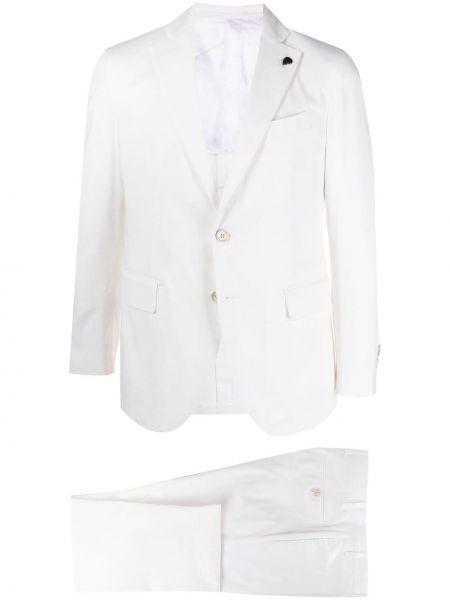 Klasyczny biały garnitur slim bawełniany Gabriele Pasini