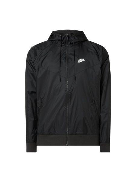 Czarna wiatrówka z kapturem z nylonu Nike