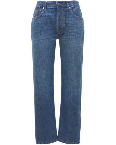 Niebieski jeansy z łatami z kieszeniami Gucci