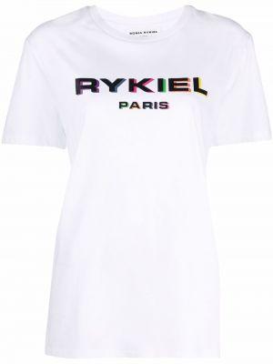 Biała koszulka krótki rękaw Sonia Rykiel