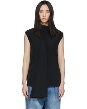 Блузка без рукавов шелковая с воротником-стойкой Tibi