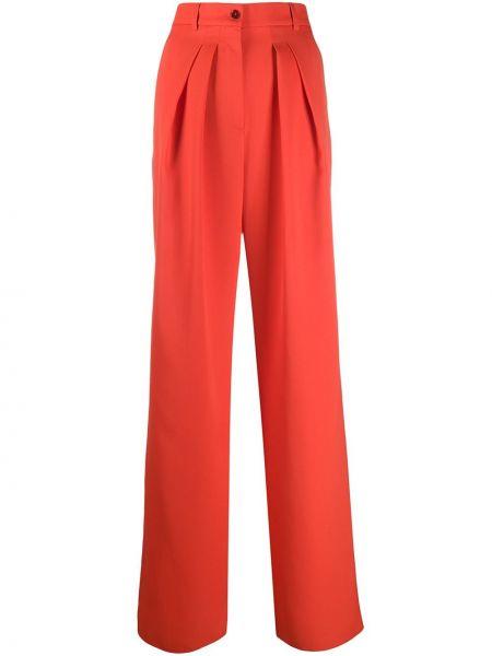 Шерстяные красные свободные брюки со складками свободного кроя Rochas