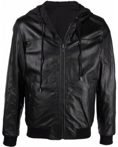 Кожаная куртка с капюшоном - черная Daniele Alessandrini