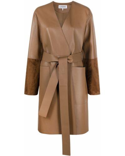 Коричневое кожаное длинное пальто с поясом Loewe