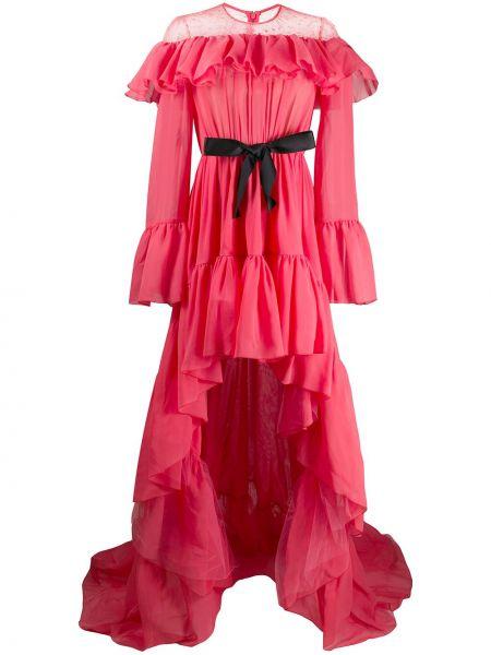 Ажурное розовое шелковое платье макси Giambattista Valli