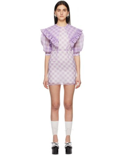 Satynowa fioletowa sukienka mini z falbanami Shushu/tong