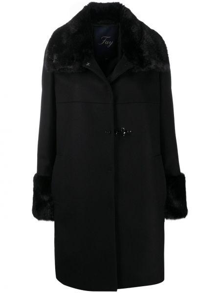 Шерстяное черное длинное пальто с воротником с манжетами Fay