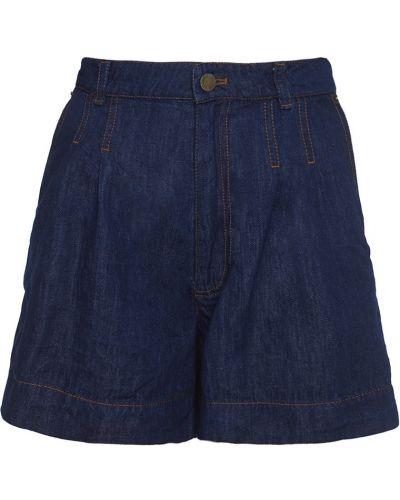 Хлопковые синие шорты с вышивкой Veronique Branquinho