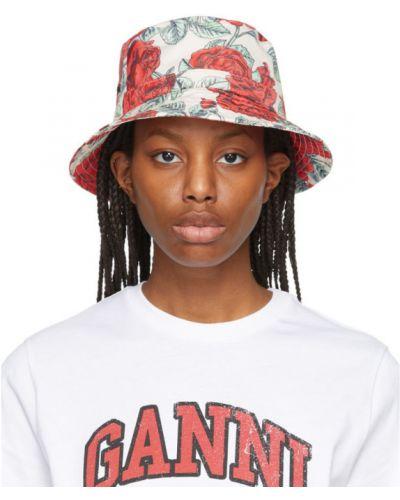 Satynowy czarny kapelusz z haftem Ganni