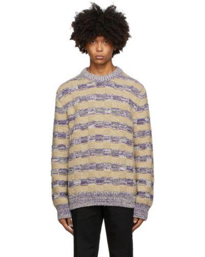 Белый шерстяной длинный свитер в полоску Acne Studios
