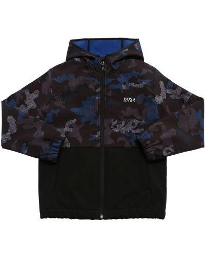 Синяя куртка с капюшоном на резинке с манжетами софтшелл Hugo Boss