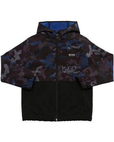 Niebieska kurtka softshell z kapturem Hugo Boss