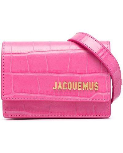Золотистая розовая кожаная поясная сумка Jacquemus