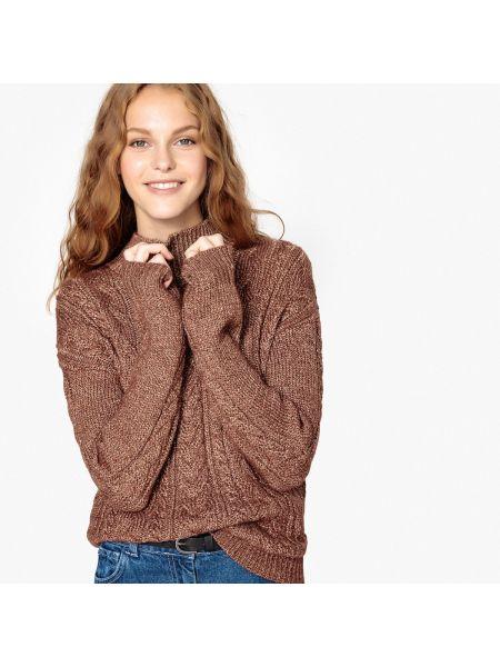 Пуловер с воротником-стойкой с узором коса La Redoute Collections