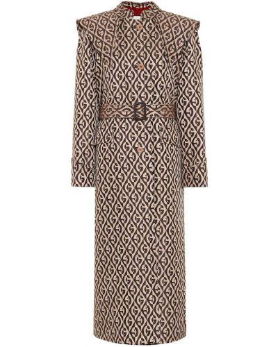 Кожаное пальто бежевое с принтом Gucci
