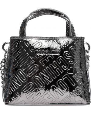 Кожаная сумка - серебряная Love Moschino