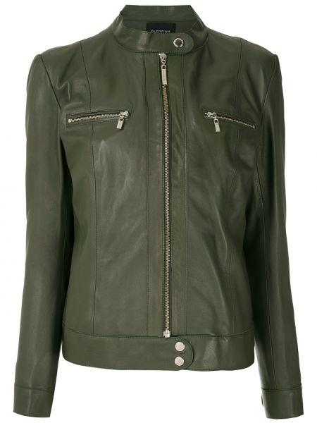Зеленая кожаная куртка на молнии Olympiah