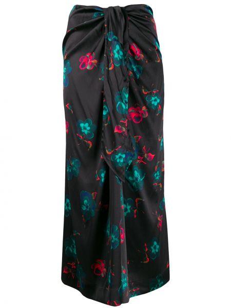 Długa spódnica w kwiaty - czarna Ganni