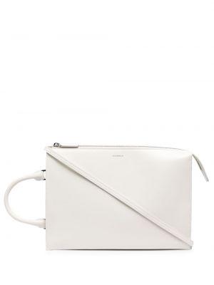 Biała torba na ramię skórzana z printem Jil Sander