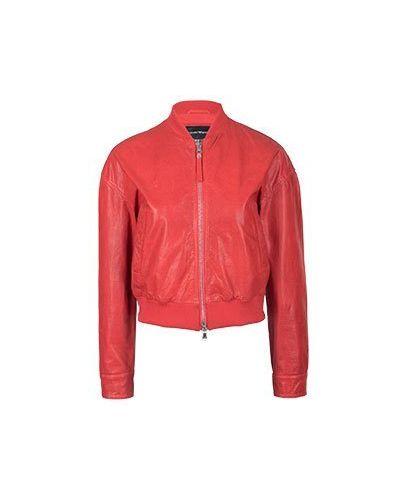 Кожаная куртка красная Emporio Armani