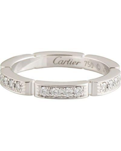 Белое кольцо с бриллиантом винтажное Cartier